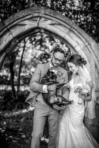 Mit dem Brautpaar und Stitch zum Shooting am Lessinghaus Wolfenbüttel